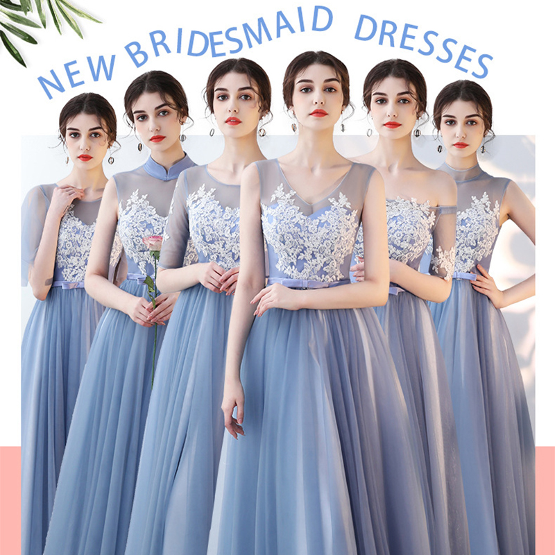 Sexy Bridesmaid Dress Appliques A-Line Long Vestido De Festa V-Neck Sleeveless Elegant Gown Lace Top Wedding Party Dresses R029