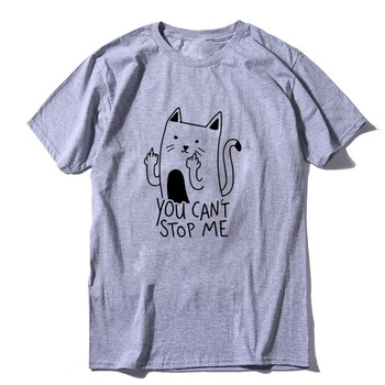 COOLMIND 100 cotton short sleeve funny cat print men Tshirt casual cool cat men t