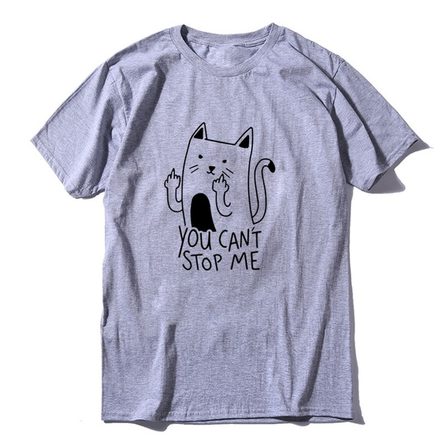 COOLMIND 100 cotton short sleeve funny cat print men Tshirt casual cool cat men t shirt