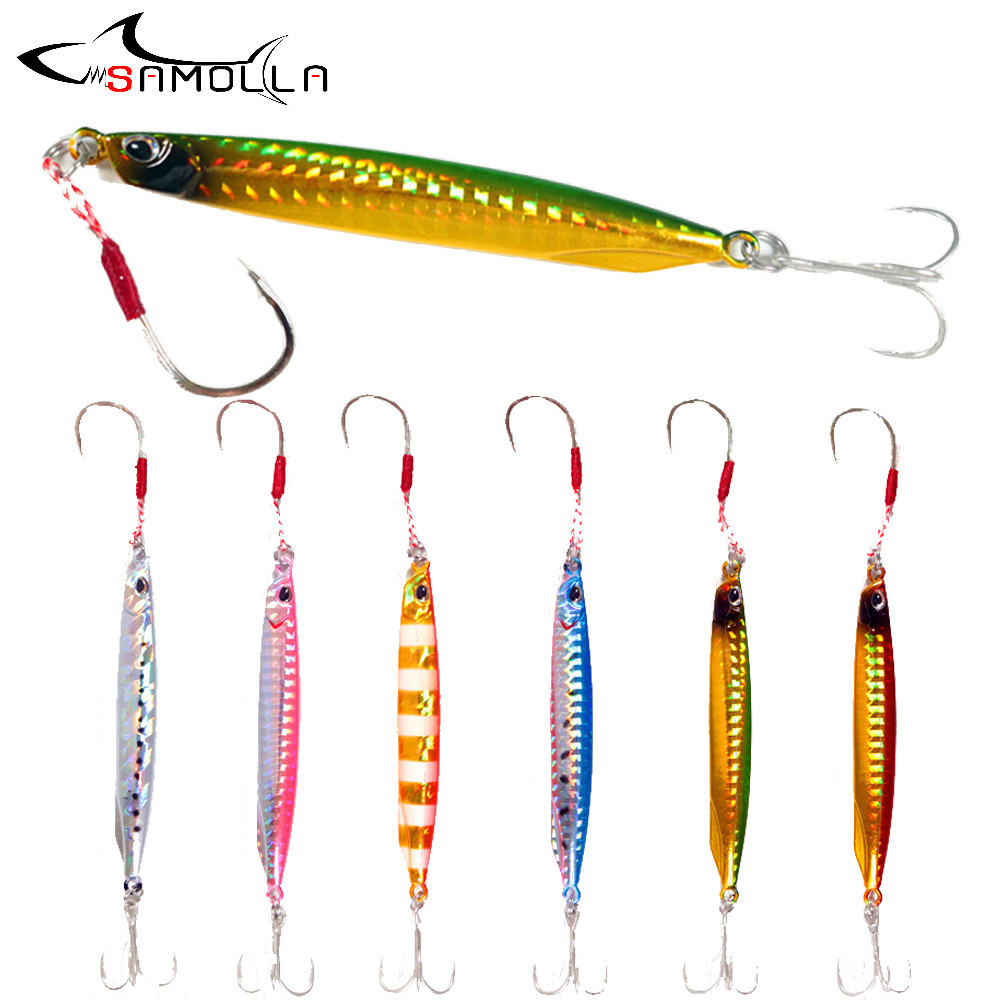 Long Jig Fishing Lure Bait Bass Fishing Tackle Metal Jig Weights 40-60g Lead Fish Saltwater Lures Isca Artificial Trolling Lure