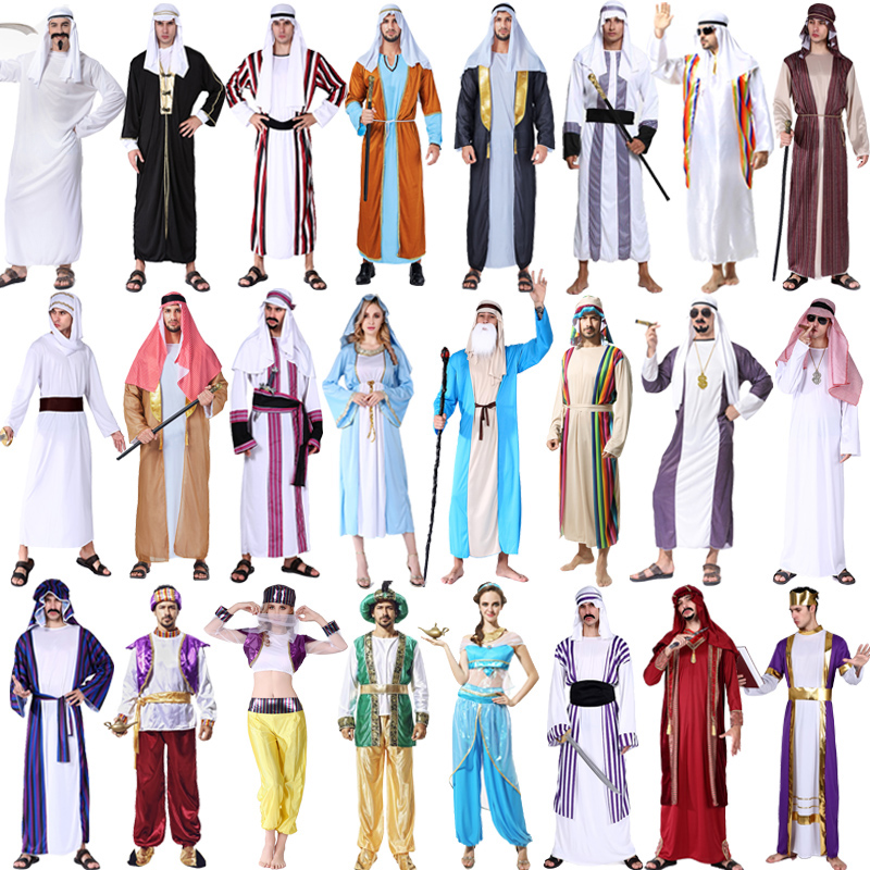 Halloween Costume Adult Men's Middle East Arab Robes Clothing Women Dubai Costume Cosplay for Child Festival Bar Decoration
