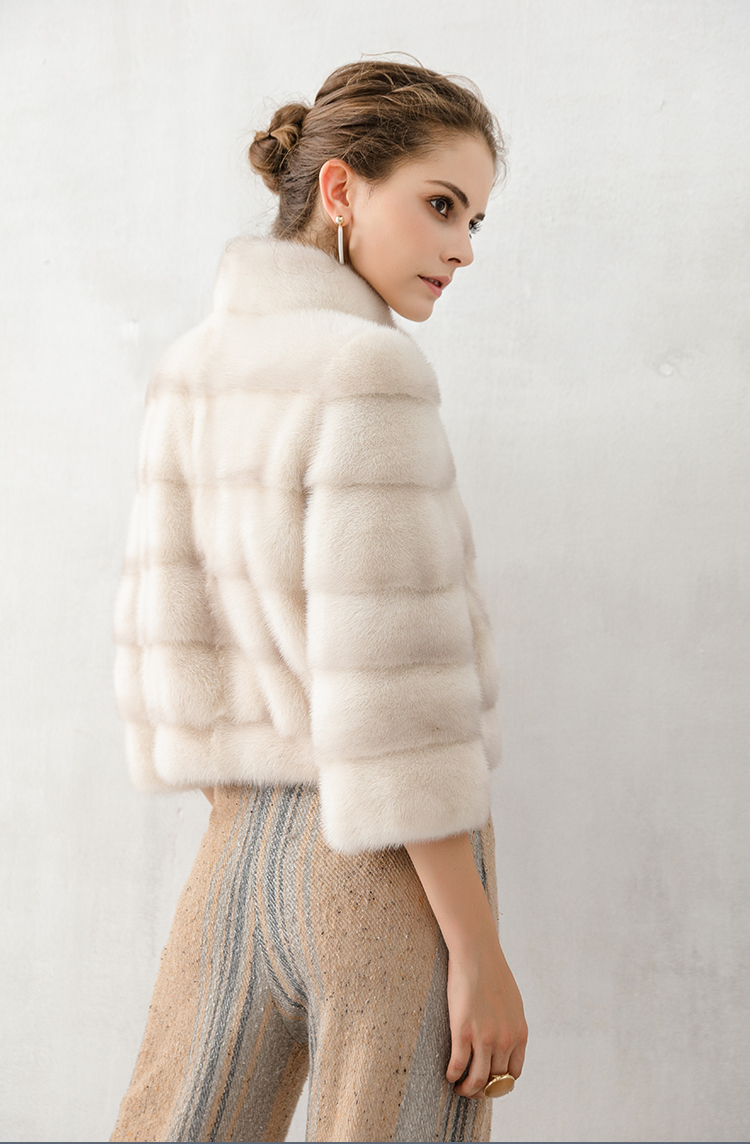 Mink Pelt Full Fur Coat Women Luxury 100% Natural Real Fur Jacket Female Stand Collar Winter Short Outerwear B1602WYQ785