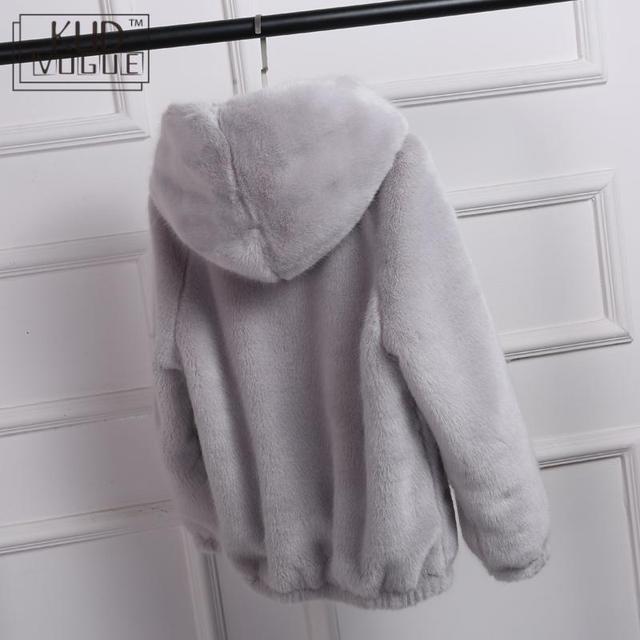 Winter Warm New Faux Mink Casual Women Faux Fur Coat Hooded Furry Fake Rabbit Fur Ladies Jacket Zipper Pink Outwear Plus Size