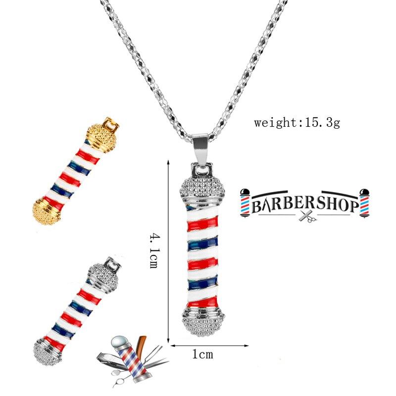 Fashion 3D Barber Shop Pole Chain Pendant Hip Hop Hairdresser Gothic Necklace