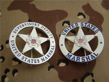 Obsolete United States Metal Badge US MARSHAL Supervisory Deputy Round Badge Silver/Golden Uniform Cosplay Badge Collection Gift