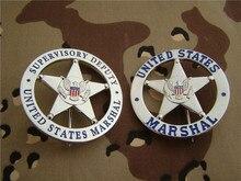 Placa de Metal obsoleta de los Estados Unidos, insignia redonda de plata, uniforme dorado, insignia de Cosplay