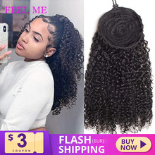 FEEL ME Curly Ponytail Beauty Drawstring Afro Kinky Curly Human Hair Ponytail For Women Non-remy Brazilian Hair Extensions(China)