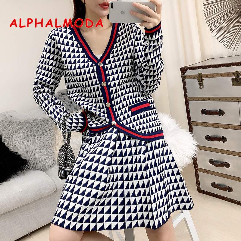 ALPHALMODA 2019 Autumn Single-breasted Knitted Sweater Cardigans With High Waist A-shaped Skirt Women Casual OL 2pcs Suit