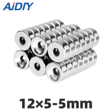 AI DIY 5/20/50 pcs 12x5mm Hole 5mm N35 Super strong ring countersunk magnets  permanent neodymium magnet 12*5-5mm