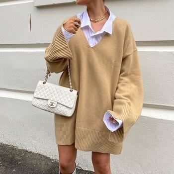 Γυναικείο Φαρδύ Φούτερ Μπλουζοφόρεμα με v Λαιμόκοψη oversized mini dress sweater
