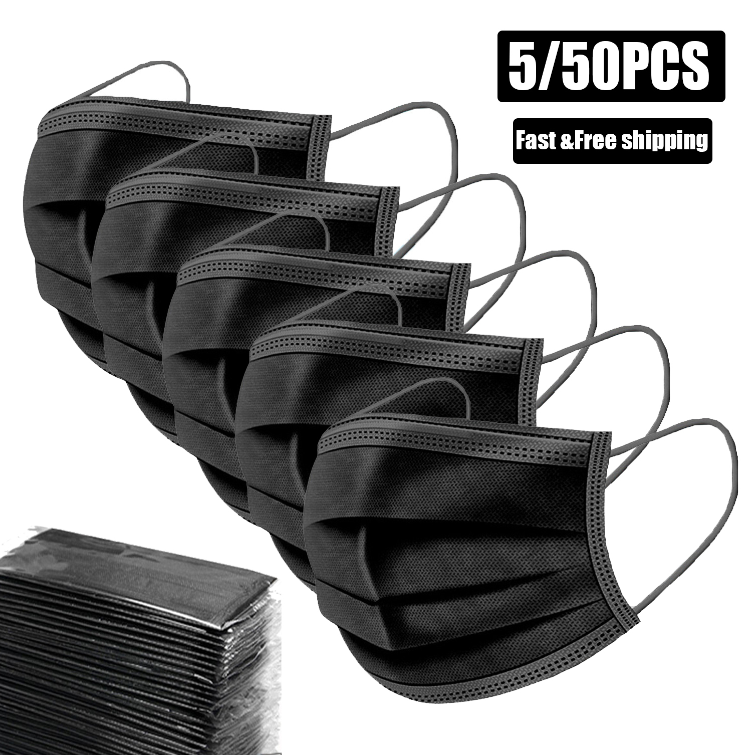 5/50Pcs Disposable Masks 3 Layer Protection Black Mouth Mask Dust Cotton Face Masks Non-Woven Mask Activated Anti Pollution