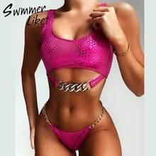 Swimwear Chain Bathing-Suit Snake Bikini Silver Female Brazilian Biquini Push-Up Women Neon