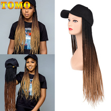 TOMO 24 Inch Long Synthetic Baseball Cap Wig with Braided Box Braids Wigs For Afro Black Women Daily Wear Hat Wig with Braids