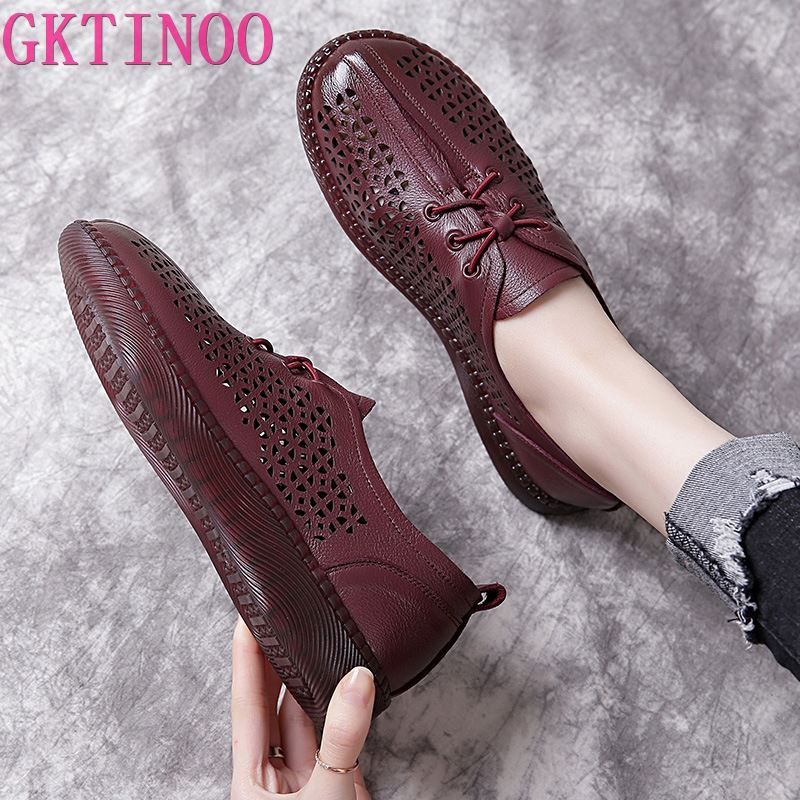 GKTINOO 2020 Spring Genuine Cow Leather Flat Comfortable Shoes For Women Summer Hollow Breathable Lace-Up Casual Ladies Flats