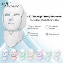 7 kolory jasne LED maska na twarz z szyi odmładzanie skóry pielęgnacja twarzy piękno anty trądzik terapia wybielanie skóry dokręcić