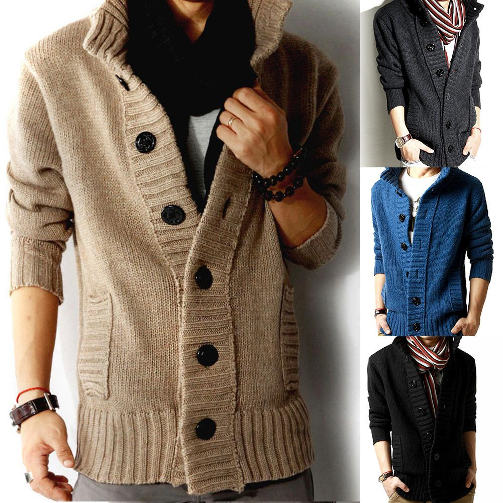 Newest Men Autumn Stand Collar Button Up Pockets Knitted Sweater Thickened Warm Coat