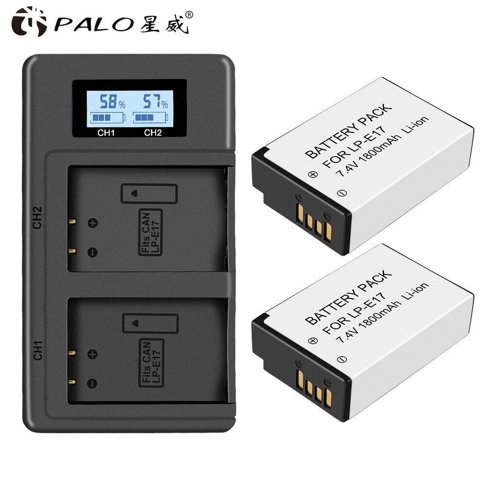 2X 1800mAh LP-E17 LPE17 LP E17 Camera Battery +LCD Dual USB Charger for Canon EOS M3 M5 M6 750D 760D T6i T6s 800D 8000D Kiss X8i