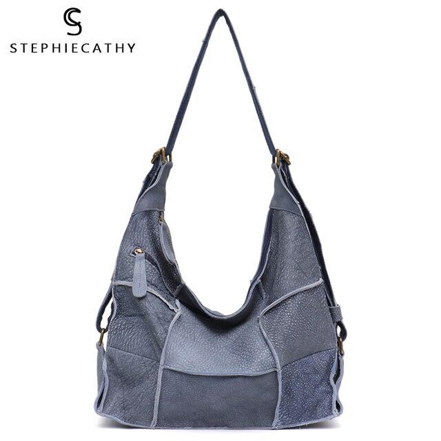 SC sac à main Vintage en cuir véritable pour femmes, grands sacoches décontracté rétro pour filles, Patchwork fait à la main