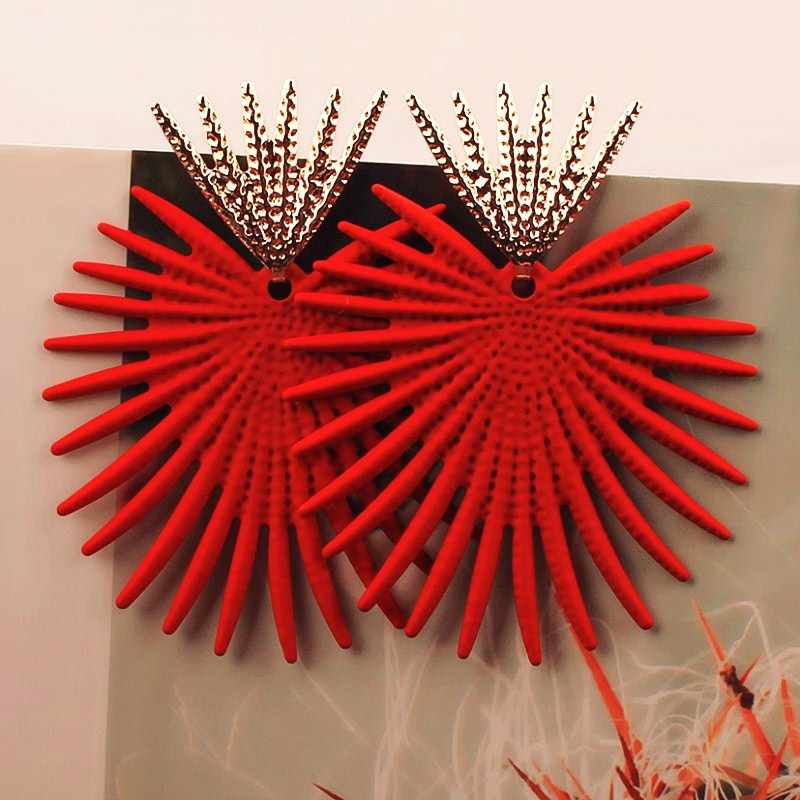 New exaggerated Big Earrings for Women Irregular Geometric Zinc Alloy Earrings Jewelry Halloween Gift Red Green Yellow