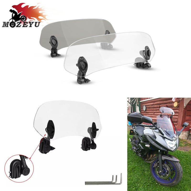 For Honda CBR500R CBR650F CTX700N NC750S <font><b>NC750X</b></font> Airflow Adjustable Windscreen Wind <font><b>Deflector</b></font> Universal Motorcycle Windshield image