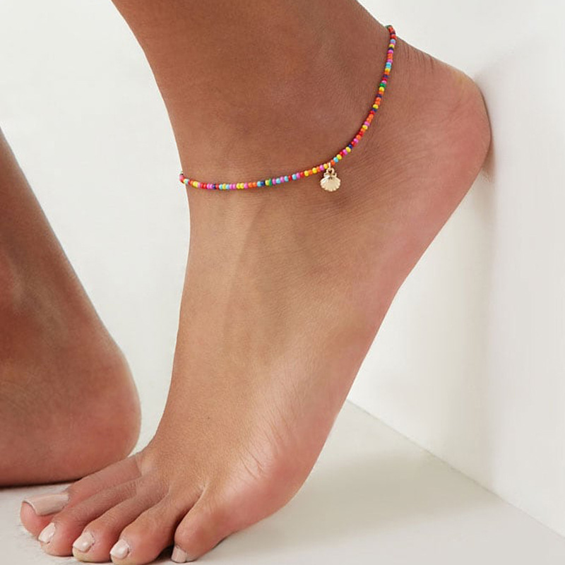 Bohemian Gold Color Metal Shell Seed Beads Foot Chain Anklets Women Summer Beach Colorful Handmade Beach Anklet Bracelet Jewelry
