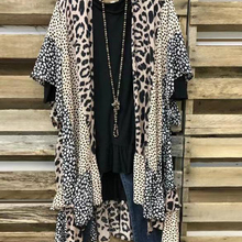 Coat Leopard Batwing-Sleeve Open-Stitch Loose M-5XL Casual Fashion Plus-Size Women Ladies