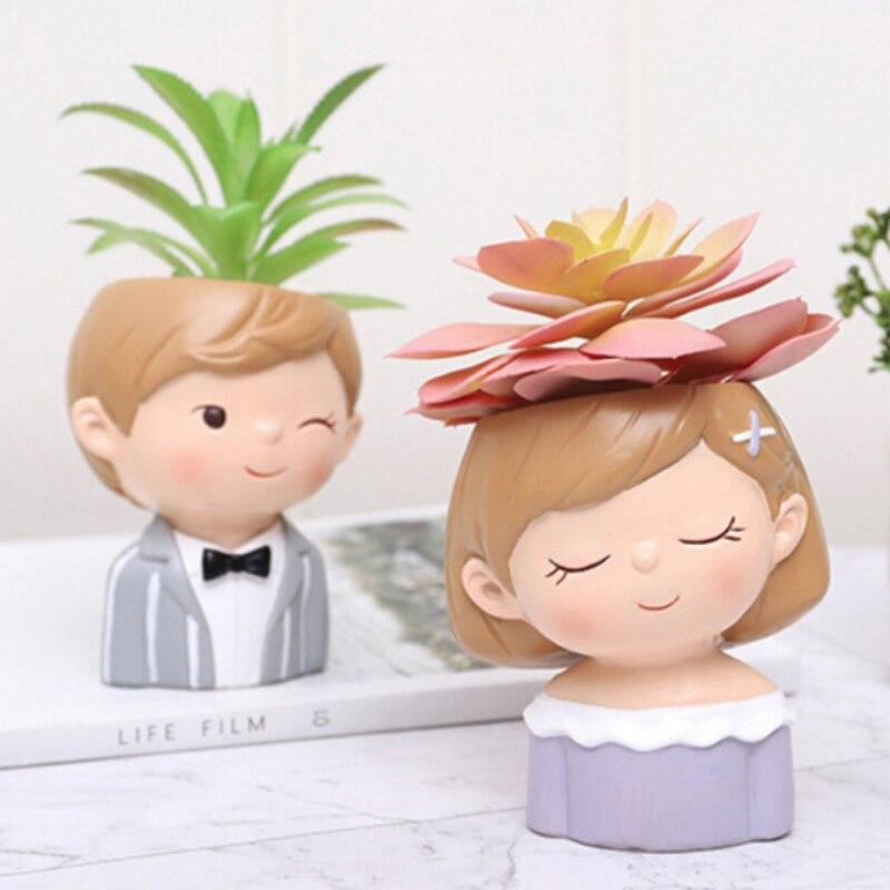 Support décoratif résine plante conteneur Pot pour maison jardin bureau bureau décoration garçons filles Couple Pots de fleurs