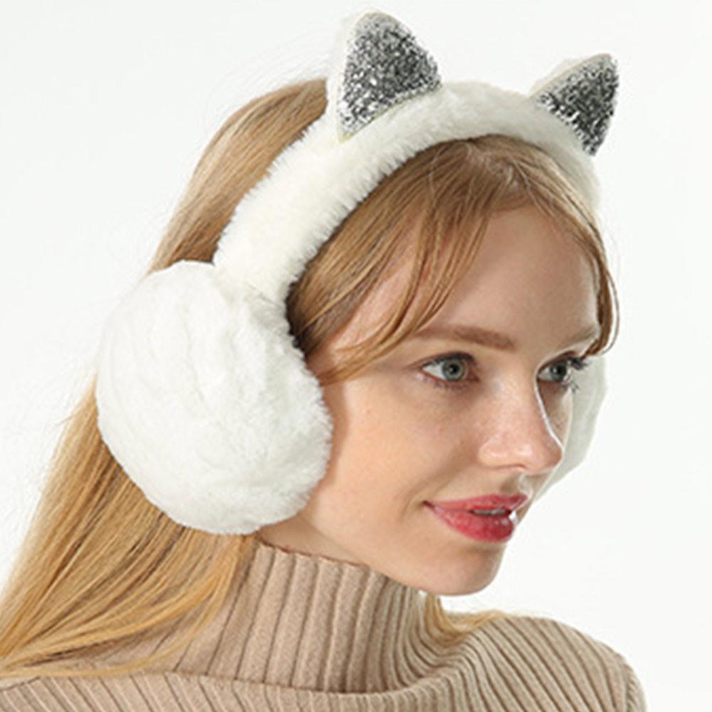 Women Earmuffs Cartoon Cat Ears Windproof Ears Warm Adjustable Earmuffs D88