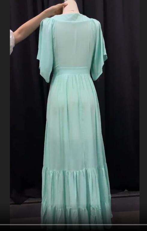 Une Ligne Robe Maxi Femmes Vintage Bohème D'été V-cou Longue Robe décontracté Praty Robes De Plage Dames Longue Robe mujer