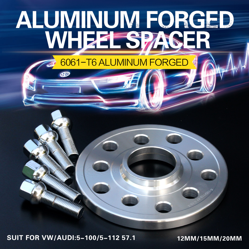 2/4PCS 12/15/20mm Alloy Aluminum T6061-T6 Forge Car Wheel Spacers Of The PCD 5 X100/5x112 CB 57.1mm Wheel Adapter For Vw/Audi