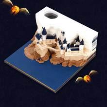 3d criativo papel escultura arte hogwarts castelo nota papel arte blocos de construção papel nota decoração de casa artesanato