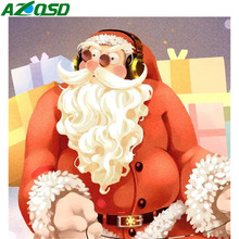 AZQSD Diamond Painting 5d Santa Home Decoration Christmas Embroidery Sale Picture Of Rhinestones Gift Needlework