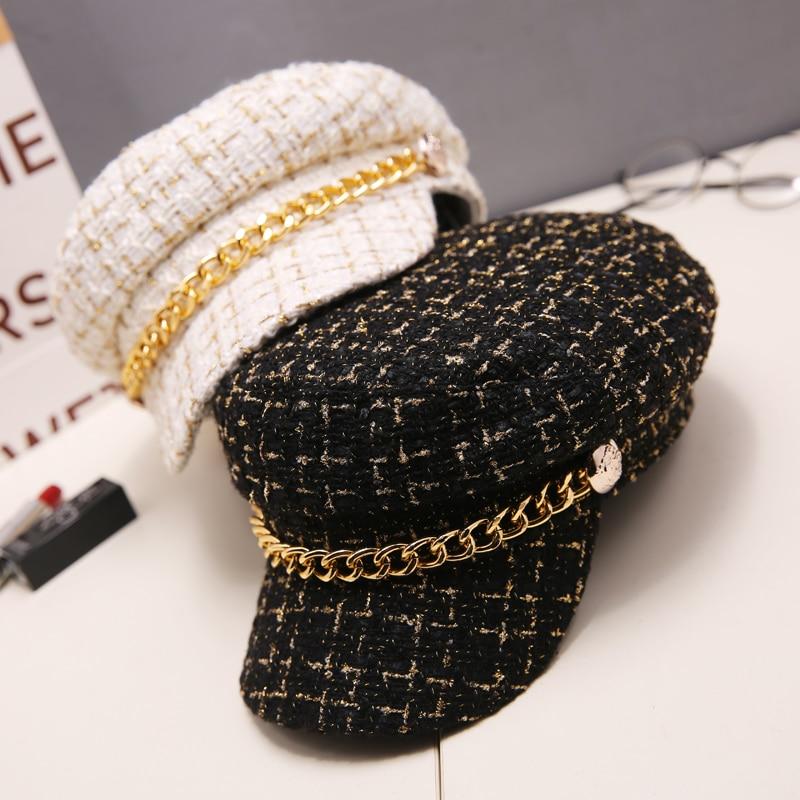 2019 Autumn Winter Tweed Chain  Military Hat For Women Wool Flat Army Cap Salior Hat Girl Visor Travel Berets Plaid Newsboy Cap