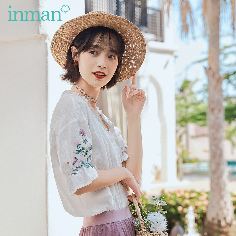 INMAN 2020 Summer New Arrival Pure Cotton Retro Lace V-neck Sweet Embroidered Short Sleeve Blouse
