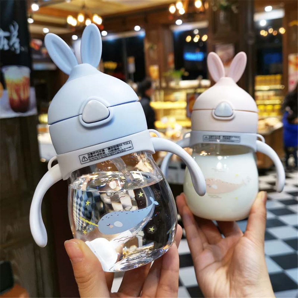 Cups Feeding Baby Bottle 320ml Cartoon Creative Children Plastic Cup Cute Handle Hand Shatter-resistant Water Cup Safe Non-toxic