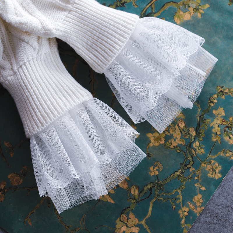 Women White Double Layer Lace Cuff False Sleeves For Women's Sweaters Autumn/ Winter