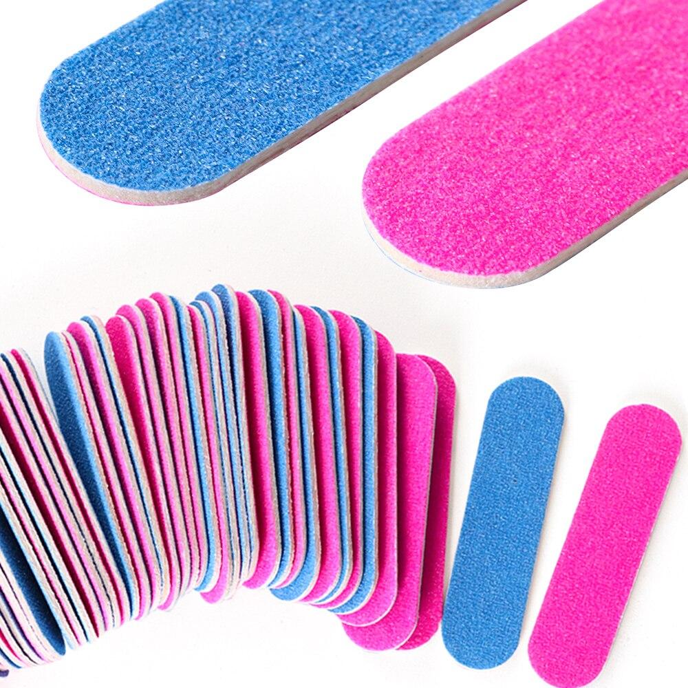 100pcs/Lot Double Side Mini Disposable Nail Buffer Files Sanding Block Grit Professional Manicure Pedicure Tools Nail File SA858