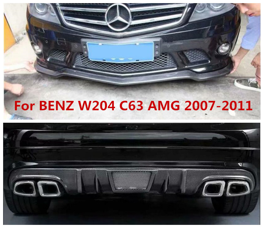 Carbon Fiber <font><b>Front</b></font> Bumper <font><b>Lip</b></font> Rear Bumper Diffuser Side skirts Fits For <font><b>BENZ</b></font> C-Class <font><b>W204</b></font> C63 AMG 2007 2008 2009 2010 2011 image