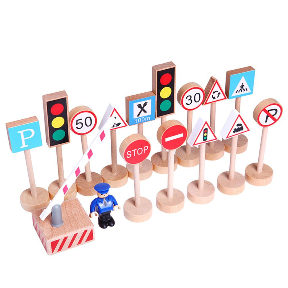 16Pcs Wooden Street Road Traffic Signs Model Block Educational Kids Toy DIY Mini Signpost Traffic Scene Educational Toys New