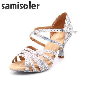 Samisoler Brown 2019 New Latin Dance Shoes ballroom dance shoes latin Rhinestone Ballroom