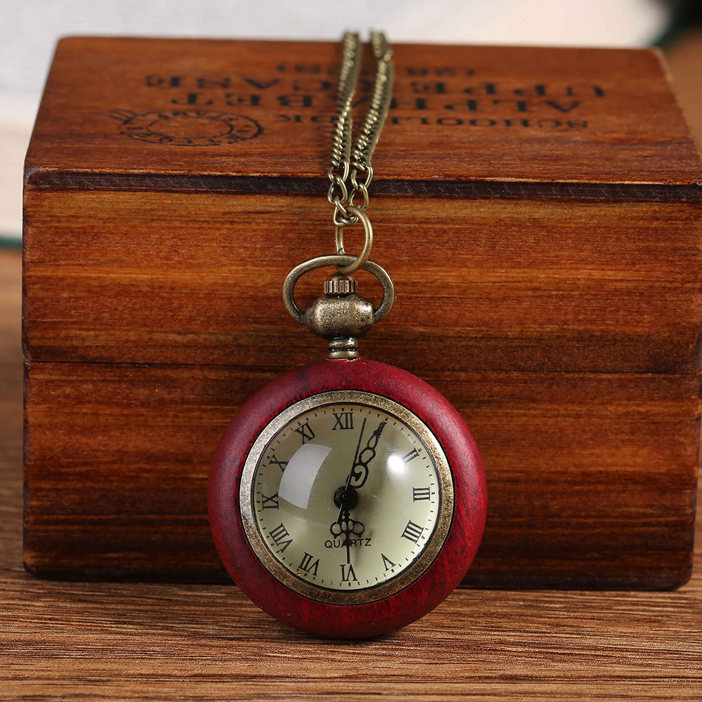 6026Retro Red Wooden Box Quartz Pocket Watch Transparent Ball Chain Automatic Winding Watch Men And Women Neutral Clock Gift