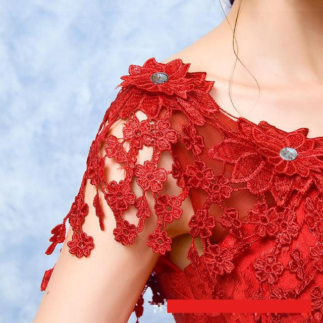 2021 Wedding Dress The Red V-neck Ball Gown Vintage Wedding Dresses Lace Embroidery Vestido De Noiva F 5