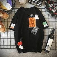 Harajuku Men's T Shirt Summer Overzize Male Clothing Cartoon Print Cotton Short-Sleeved Hip-Hop Street Loose Casual Tees Tops 1