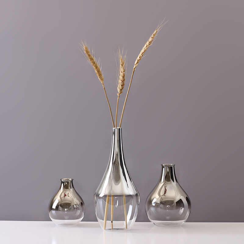 Nordic แจกันแก้ว Creative Silver Gradient ดอกไม้แจกันเครื่องประดับเดสก์ท็อปเครื่องประดับตกแต่งบ้านของขวัญสนุกพืช Pots ตกแต่ง