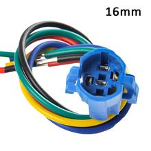 цена на 16mm 19mm Metal Push Button Switch Flat Pins Type Switch Connector Push Button Socket Plug Adapter Wire