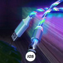 LED Streamer Magnetic Absorption Cable Luminous Micro USB Type C 8 Pin Fast Charging Flow Bright Magnet Charger Cords Wire