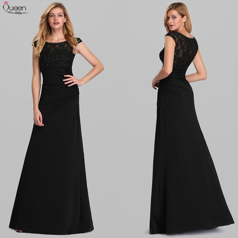 Elegant Black Evening Dresses Long Queen Abby A-Line O-neck Sleeveless Beaded Lace Formal Evening Gowns For Party Abendkleider