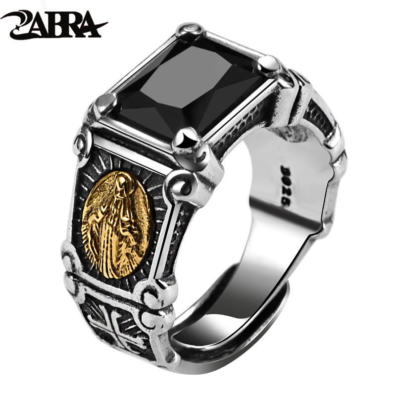 ZABRA Vintage Real 925 Sterling Silver Black Stone Ring Man Women Virgin Mary Rings Cubic Zirconia Onyx Jewelry Open Size