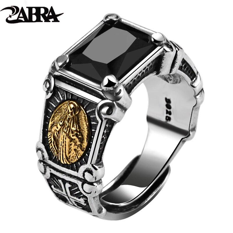 ZABRA Vintage Real 925 Sterling Silver Black Stone Ring Man Women Virgin Mary Rings Cubic Zirconia Onyx Jewelry Open Size