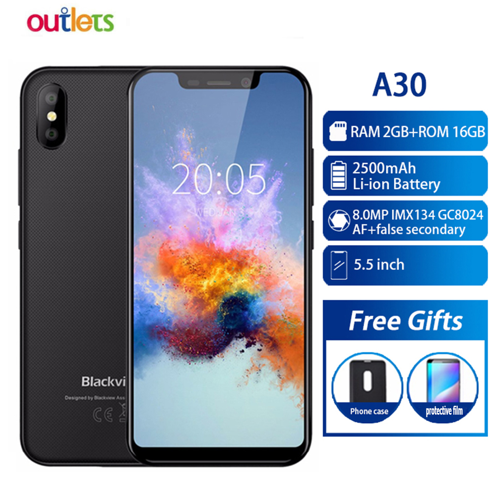 Blackview A30 Smartphone 5.5inch 19:9 Full Screen MTK6580A Quad Core 2GB+16GB Android 8.1 Dual SIM 3G Face ID Mobile Phone-in Cellphones from Cellphones & Telecommunications    1